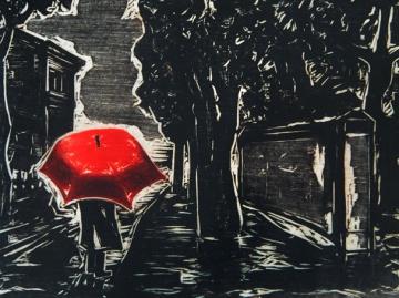 """""""O Guarda-chuva vermelho"""", de Oswaldo Goeldi"""